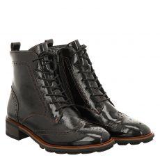 Paul Green, 0067-9764-017, kurzer Knautschlack-Stiefel in schwarz für Damen