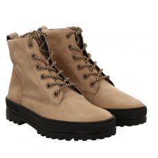 Paul Green, 0067-9809-017, kurzer Nubukleder-Stiefel in beige für Damen