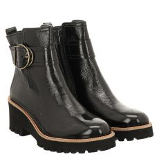 Paul Green, 0067-9763-037, kurzer Knautschlack-Stiefel in schwarz für Damen