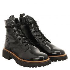 Paul Green, 0067-9816-017, kurzer Knautschlack-Stiefel in schwarz für Damen