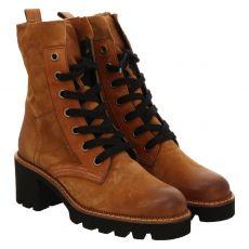 Paul Green, 0067-9819-007, kurzer Veloursleder-Stiefel in cognac für Damen