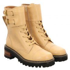 See By Chloé, 12003, kurzer Glattleder-Stiefel in beige für Damen