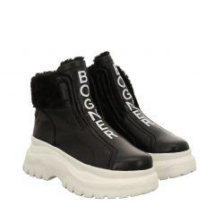 Bogner, Banff 3a, kurzer Glattleder-Stiefel in schwarz für Damen