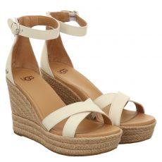 Ugg, Ezrah, Glattleder-Sandalette in weiß für Damen
