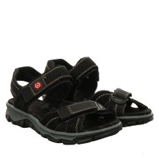 Rieker Nubukleder-Sandalette in schwarz für Damen
