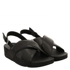 Fitflop, Lulu Cross Slide Sandal, Glattleder-Sandalette in schwarz für Damen
