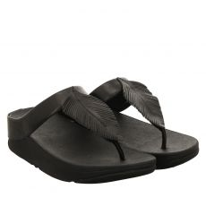 Fitflop, Fino Leather Toe, Glattleder-Pantolette in schwarz für Damen