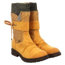Rieker kurzer Kunstleder-Stiefel in gelb für Damen