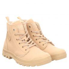 Palladium, Pampa High, kurzer Glattleder-Stiefel in beige für Damen