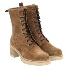 Schuhengel kurzer Veloursleder-Stiefel in beige für Damen