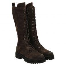 Schuhengel, Doble, hoher Veloursleder-Stiefel in grau für Damen