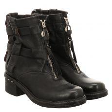 As 98 (airstep), Novasuper, kurzer Glattleder-Stiefel in schwarz für Damen