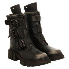 As 98 (airstep), Hell, kurzer Glattleder-Stiefel in schwarz für Damen