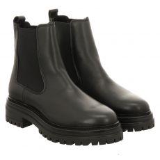 Schuhengel kurzer Glattleder-Stiefel in schwarz für Damen