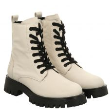 Schuhengel kurzer Glattleder-Stiefel in weiß für Damen
