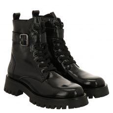 Schuhengel kurzer Knautschlack-Stiefel in schwarz für Damen