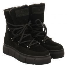 Schuhengel kurzer Veloursleder-Stiefel in schwarz für Damen