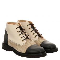 Camerlengo kurzer Glattleder-Stiefel in weiß für Damen