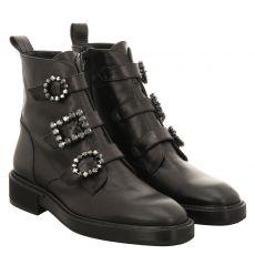 Ras kurzer Glattleder-Stiefel in schwarz für Damen
