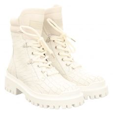 Donna Carolina kurzer Glattleder-Stiefel in weiß für Damen