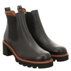 Paul Green, 0069-9775-019/chelsea-boots, kurzer Glattleder-Stiefel in schwarz für Damen