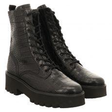 Paul Green, 0069-9897-079/schnürstiefelett, kurzer Glattleder-Stiefel in schwarz für Damen