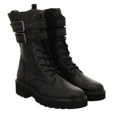 Paul Green, 0069-9920-009/schnürstiefelett, kurzer Glattleder-Stiefel in schwarz für Damen