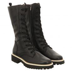 Paul Green, 0069-9891-019/schnürstiefelett, kurzer Glattleder-Stiefel in schwarz für Damen