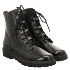 Paul Green, 0069-9978-019/schnürstiefelett, kurzer Knautschlack-Stiefel in schwarz für Damen