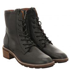 Paul Green, 0069-9969-039/schnürstiefelett, kurzer Glattleder-Stiefel in schwarz für Damen