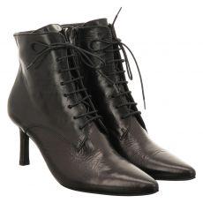 Paul Green, 0069-9800-019/schnürstiefelett, kurzer Glattleder-Stiefel in schwarz für Damen