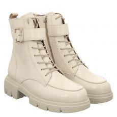 Paul Green, 0069-9879-029/schnürstiefelett, kurzer Knautschlack-Stiefel in weiß für Damen