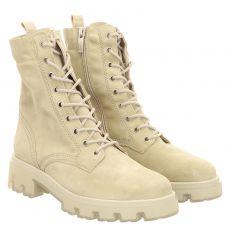 Paul Green, 0069-9001-069/schnürstiefelett, kurzer Veloursleder-Stiefel in beige für Damen